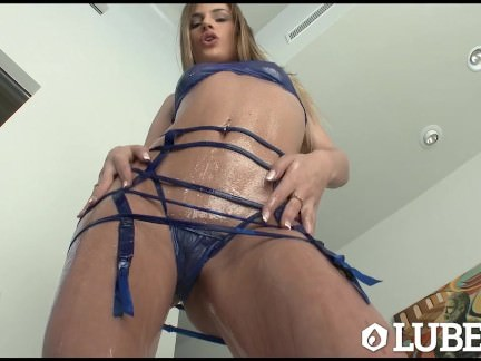 LUBED Hot lubed up Sydney Cole sucks on a oiled cock