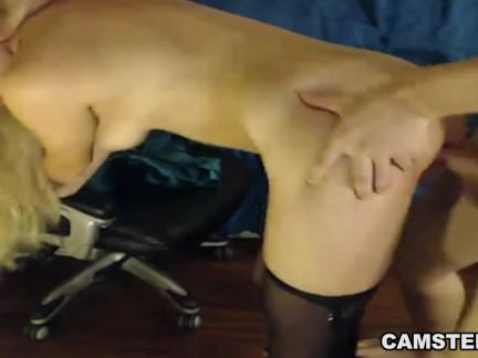 Blonde wearing costume gets a creampie