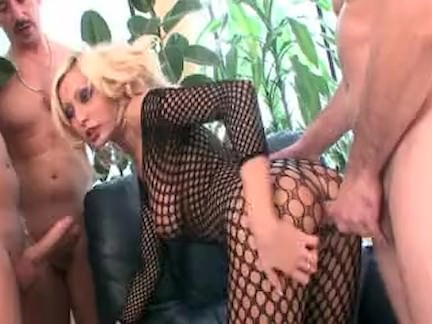 Fishnet blonde in great gangbang