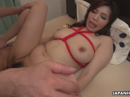 Brunette Asian babe with a hot rack rides a fat dick