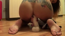 Real home orgasm with a huge toy in pussy