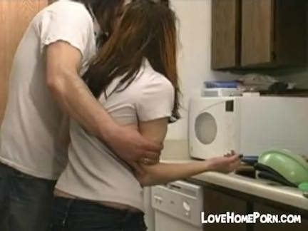 Ass spanking in the kitchen